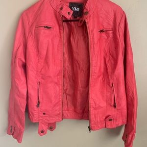 YMI pink faux leather jacket